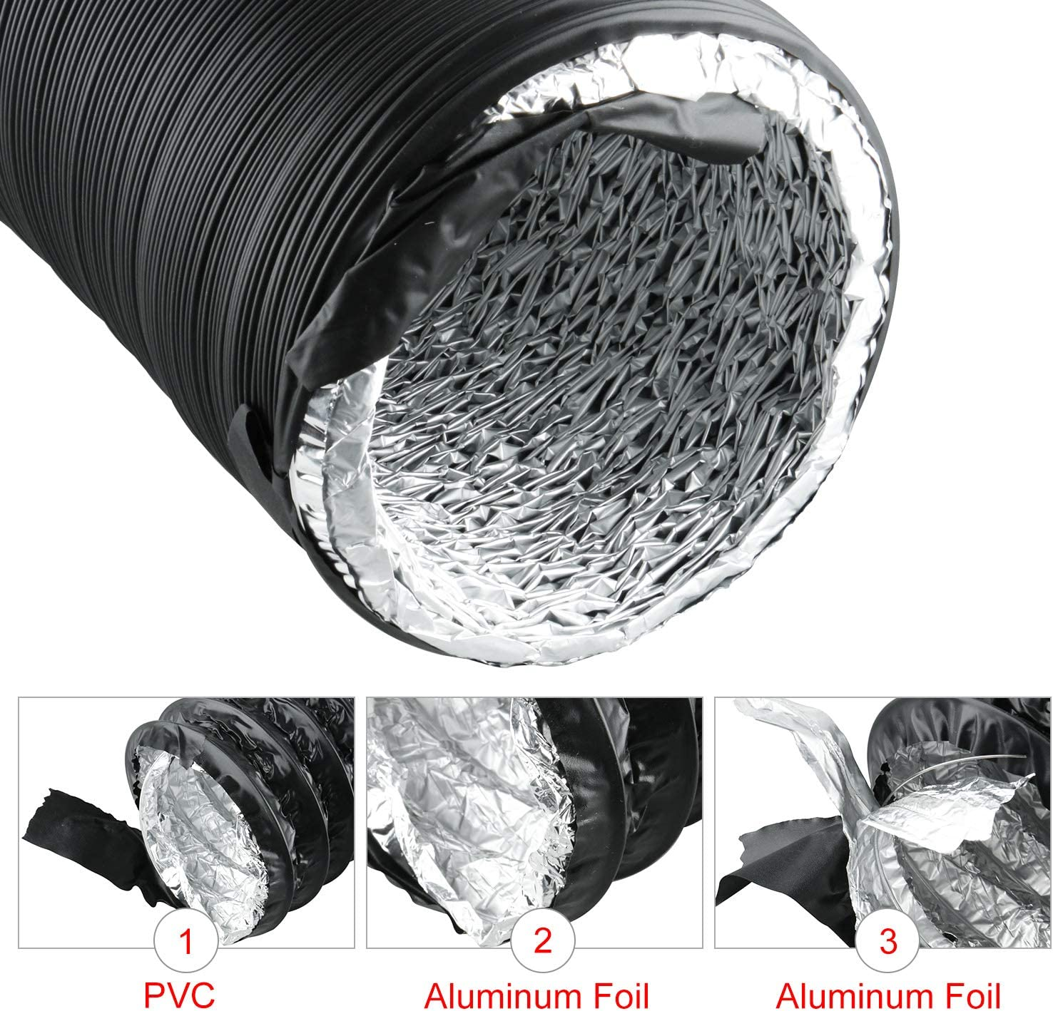 Black Flexible Ducting HVAC Ventilation Air Hose for Grow Tents 4 X 16 FT, Black Dryer Rooms,Kitchen Homend Air Duct