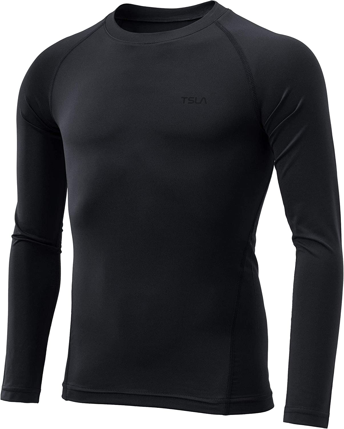 TSLA Boy's/Girl's Thermal Long Sleeve Tops, Crew Neck Fleece Lined Compression Base Layer Shirts: Clothing