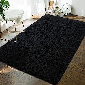 Andecor Soft Fluffy Bedroom Rugs - 4 x 6 Feet Indoor Shaggy Plush Area Rug for Boys Girls Kids Baby College Dorm Living Room Home Decor Floor Carpet, Black