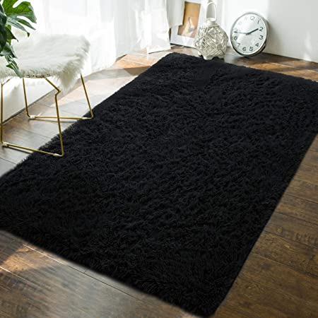 Soft Fluffy Bedroom Area Rugs - 4 x 6 Feet Indoor Modern Shaggy Plush Rug  for Boys Kids College Dorm Living Room Home Decor Luxury Solid Accent Floor  ...