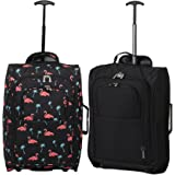 Set of 2 Super Lightweight Cabin Approved Luggage Travel Wheely Suitcase Wheeled Bags Bag Black/Red + Black/Blue (Black Flamingos + Black)