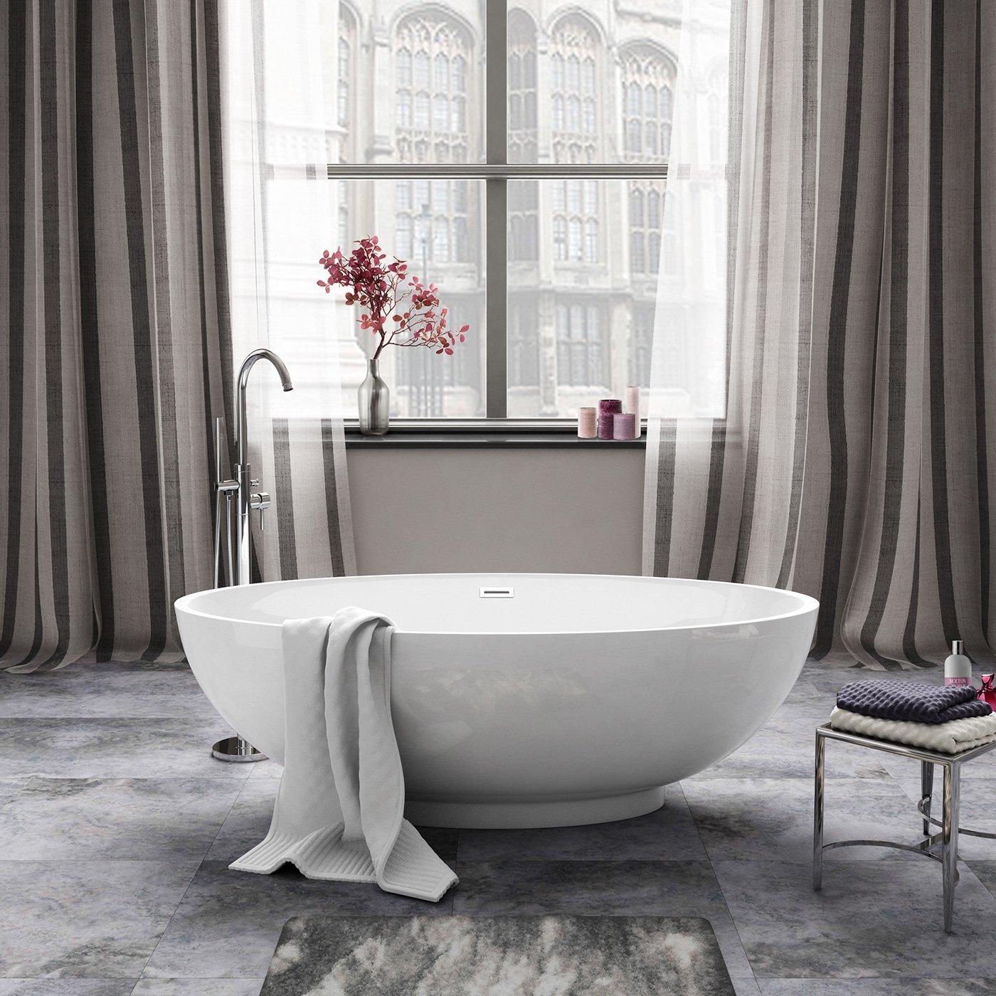 1690mm modern white designer bathroom oval freestanding bath bathtub ibathuk amazoncouk kitchen home