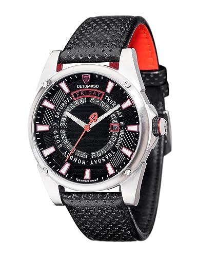 Hombre-Reloj Punk Detomaso visitas Negro/Rojo analógico de Cuarzo de Cuero DT-YG105-A: Amazon.es: Relojes