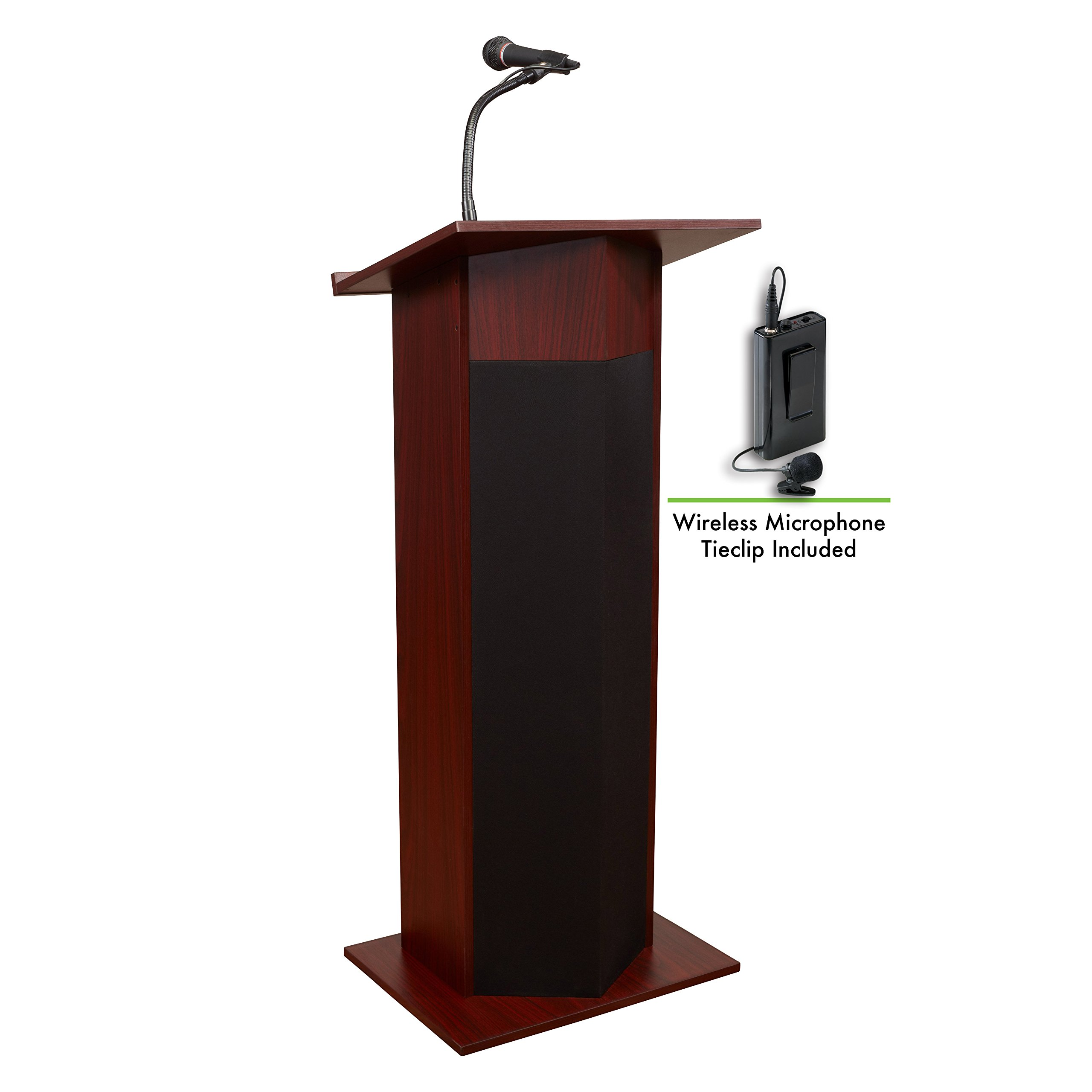 Oklahoma Sound 111PLS-MY/LWM-6 Power Plus Lectern & Tie Clip Mic, Mahogany