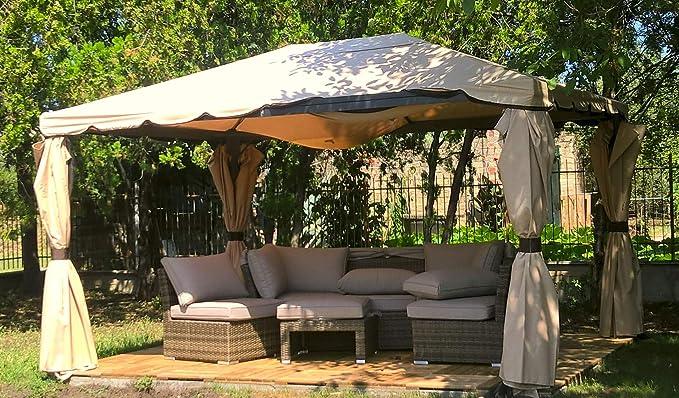 Enrico Coveri Garden - Cenador Grande 3 x 3 con mosquitera Beige, decoración de jardín y Exterior, con Tejido Impermeable y Estructura de Acero: Amazon.es: Jardín