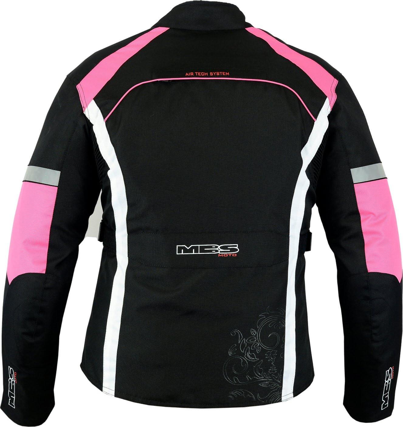 MBSmoto MJ-24 Ladies Female Motorcycle Bike Scooter Touring Waterproof Windproof Textile Jacket Black, 4XL