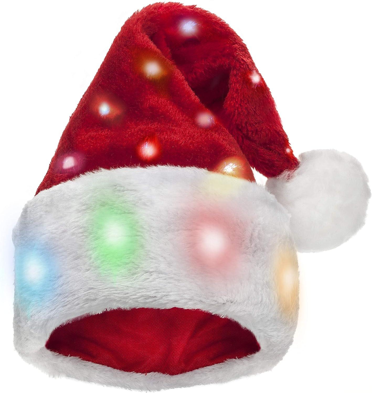 Winks Novelty Divertido Gorro de Papá Noel con 20 Luces LED Intermitentes Que cambian de Color elaborado en Felpa Suave de Piel de imitación. para Adultos: Amazon.es: Juguetes y juegos