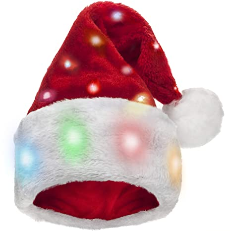 Winks Novelty Divertido Gorro de Papá Noel para niños con 20 Luces LED Intermitentes Que cambian