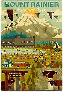 product image for Lantern Press Mount Rainier National Park, Washington - Geometric 79889 (6x9 Aluminum Wall Sign, Wall Decor Ready to Hang)