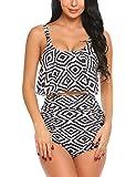 ADOME Printed Falbala High Waisted Bikini Set Womens Tummy Control 2PC Bathing Suit