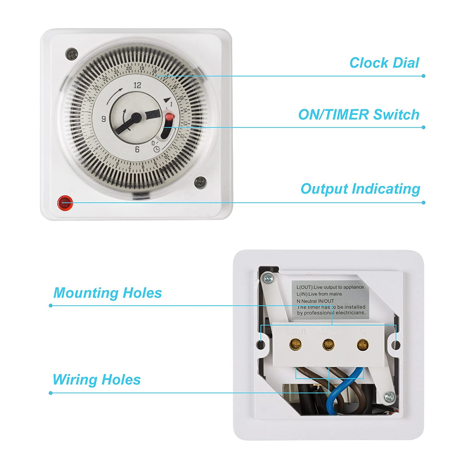 Hbn 24 Hour Indoor Energy Saving Mechanical Immersion Heater Segment Wiring A Timer Switch Lighting