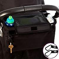 Organisateur/Organiseur pour poussette/landau, sacoche de rangement XL BTR avec rabat doté d'un emplacement pour téléphone portable/smartphone et RÉSISTANT À L'EAU. 2 mousquetons GRATUITS INCLUS.
