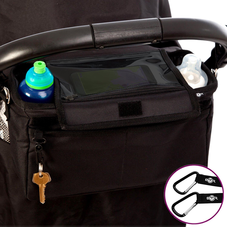 Bolsa organizadora XL para cochecito o silla de paseo de BTR. Bolsillo / soporte abatible exclusivo para el móvil y cubierta IMPERMEABLE. CON 2 ganchos para cochecito GRATUITOS. Un accesorio indispensable para cochecitos y sillas de paseo. BTR265