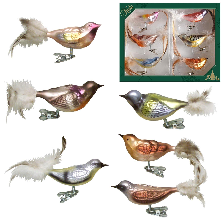 Krebs Glas Lauscha dise/ño de p/ájaros Wintervogel-Set Cristal, 11 cm Juego de 6 Adornos para /árbol de Navidad
