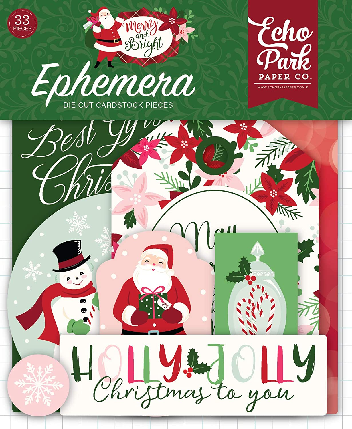 Echo Park Paper Company MB160024 Merry & Bright Ephemera, red, Green, Pink, Black, Gold, Mint