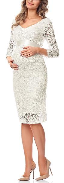 Be Mammy Vestido de Maternidad y de Lactancia para Mujer BE20-170 (Crudo,