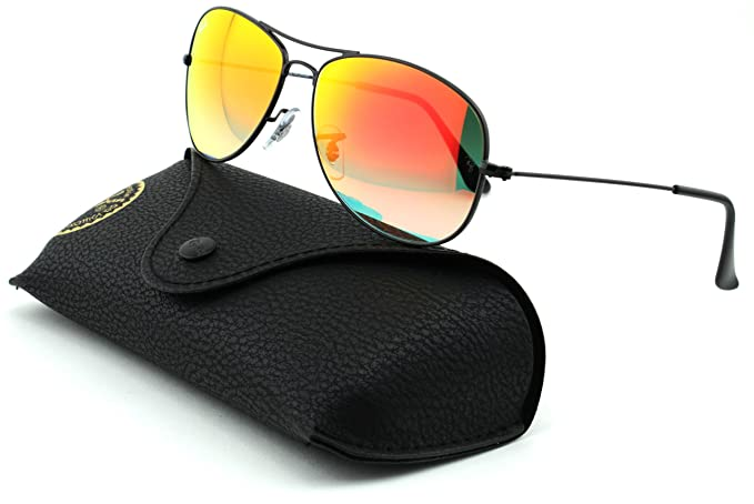 961c8161ef Image Unavailable. Image not available for. Colour  Ray-Ban RB3362 Cockpit  Unisex Metal Sunglasses (Shiny Black Frame Orange Lens 002