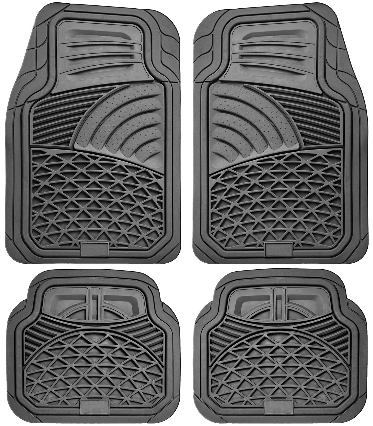 OxGord 4pc Set Tactical Heavy Duty Rubber Floor Mats - Beige FMPV04A-BG