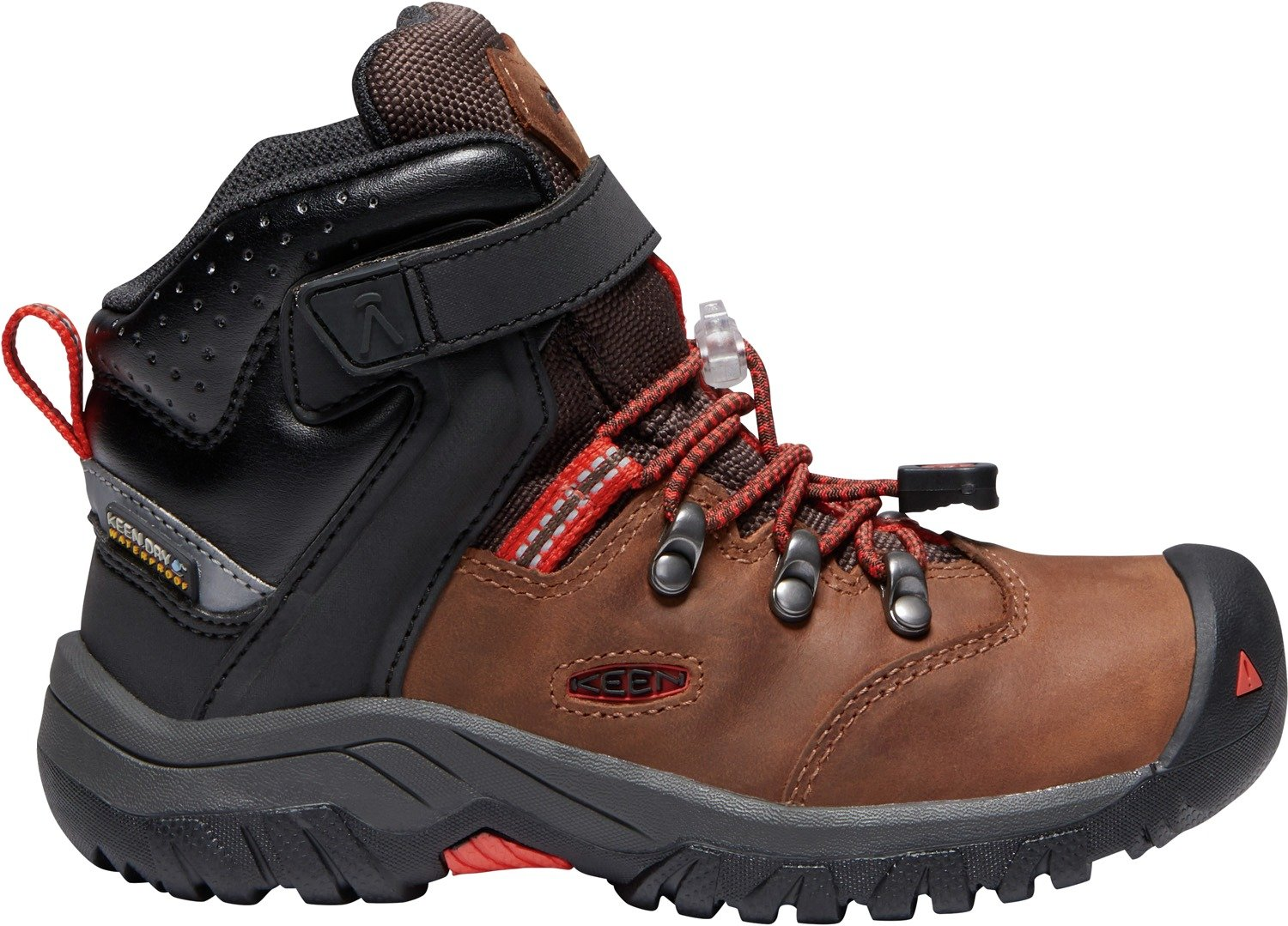 KEEN - Kid's Torino II Mid Waterproof Winter Boots, Tortoise Shell/Fiery Red, 9 M US Big Kid