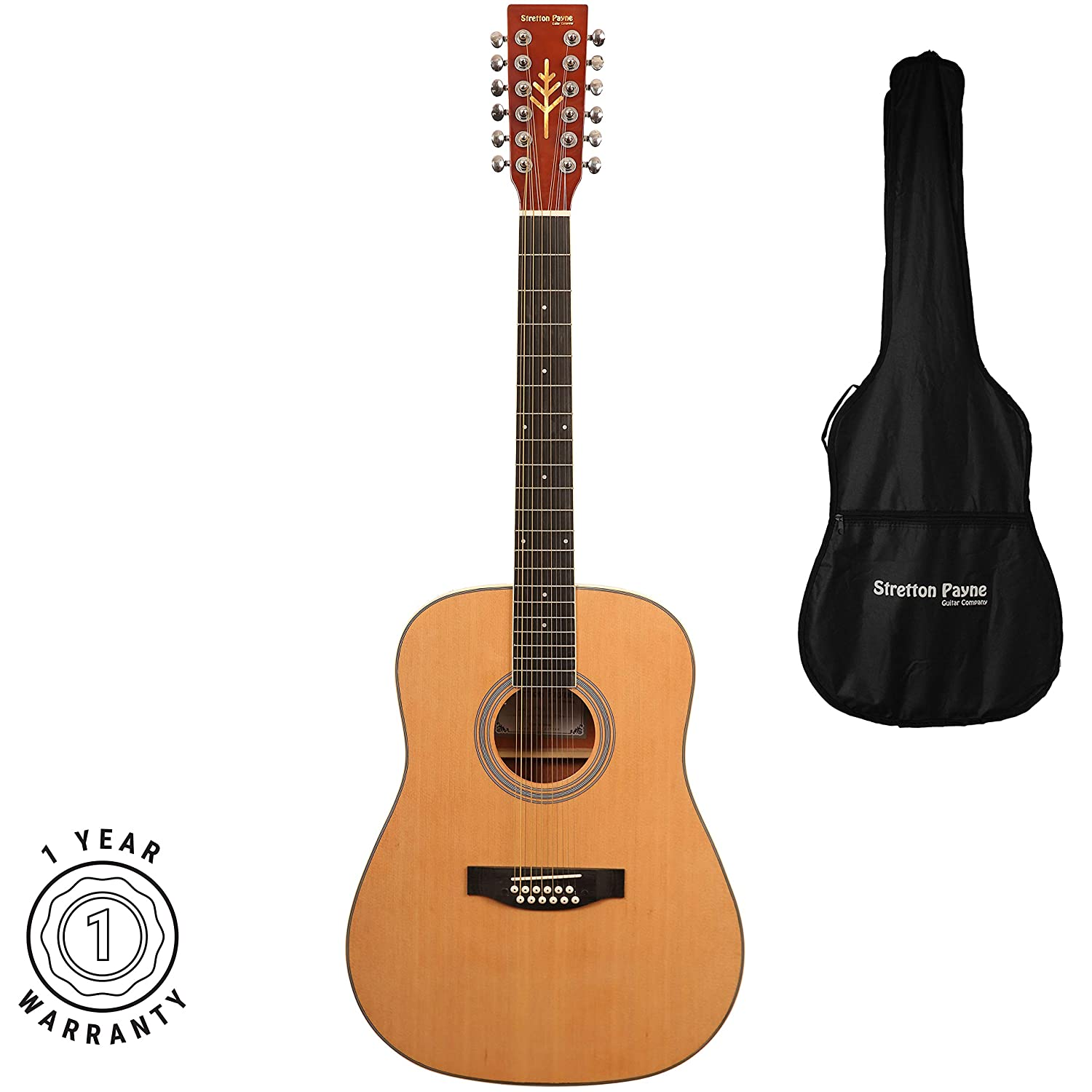 fdddf5584a0 Stretton Payne Dreadnought 12 String Acoustic Guitar Spruce and Mahogany  with 3mm Padded Gig Bag  Amazon.co.uk  Musical Instruments