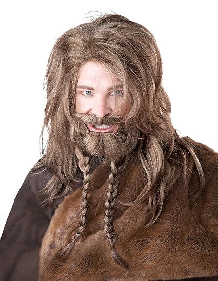 Générique California disfraz – pe876 – Set peluca Vikingo, barba, trenzas y bigote