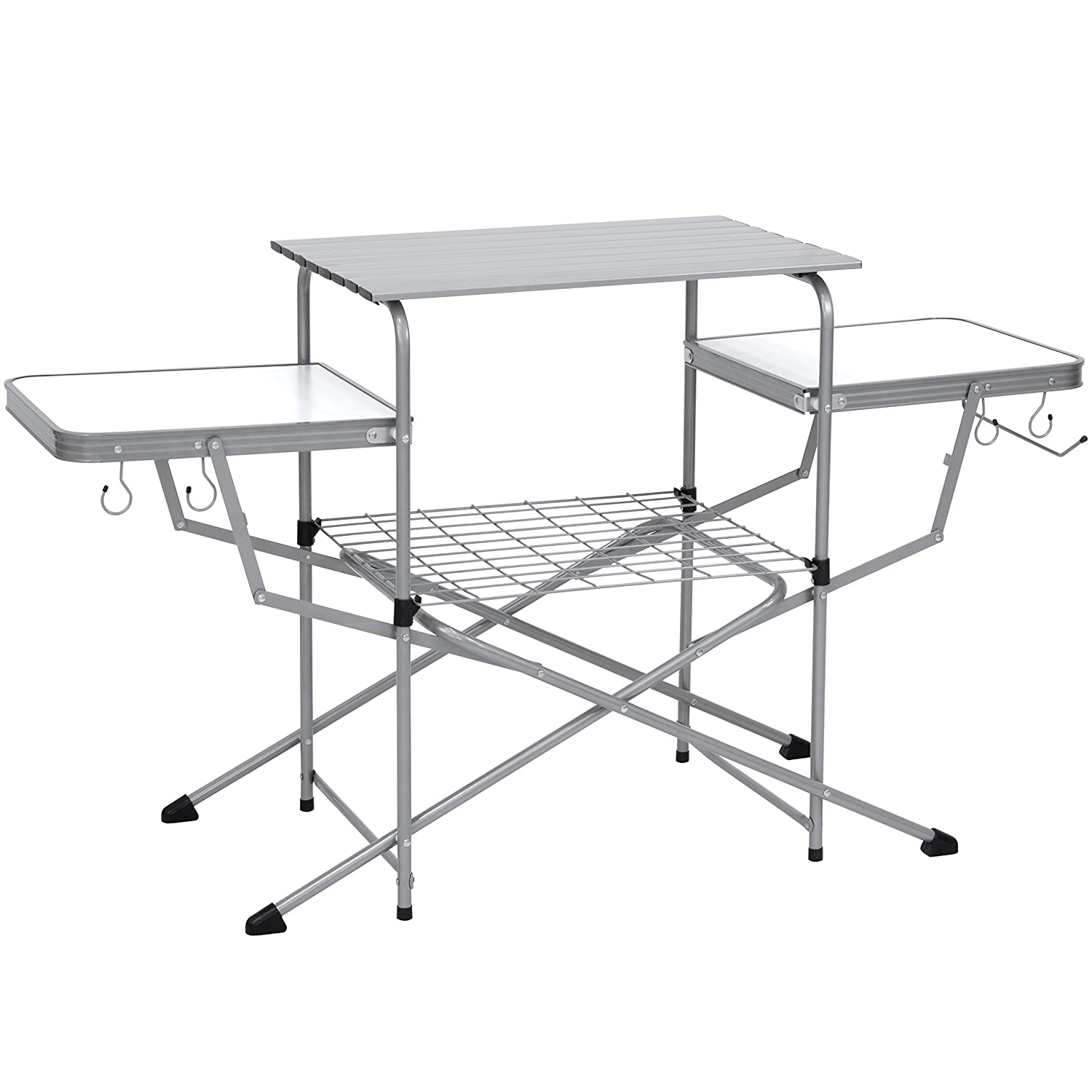 Best Choice Products Portable Outdoor Deluxe Folding Camping Grilling Table w/Carrying Case - Silver