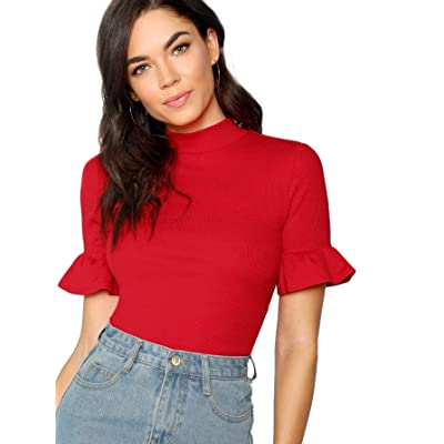 Floerns Women's Mock Neck Flounce Sleeve Casual Tops: Clothing