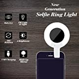 RECESKY Rechargeable Selfie Ring Light - Portable LED Camera Fill Lights Built-in 360° Makeup Mirror for Photography iPhone 6 6s 7 plus, iPad, Samsung Galaxy and Other Smart Phones