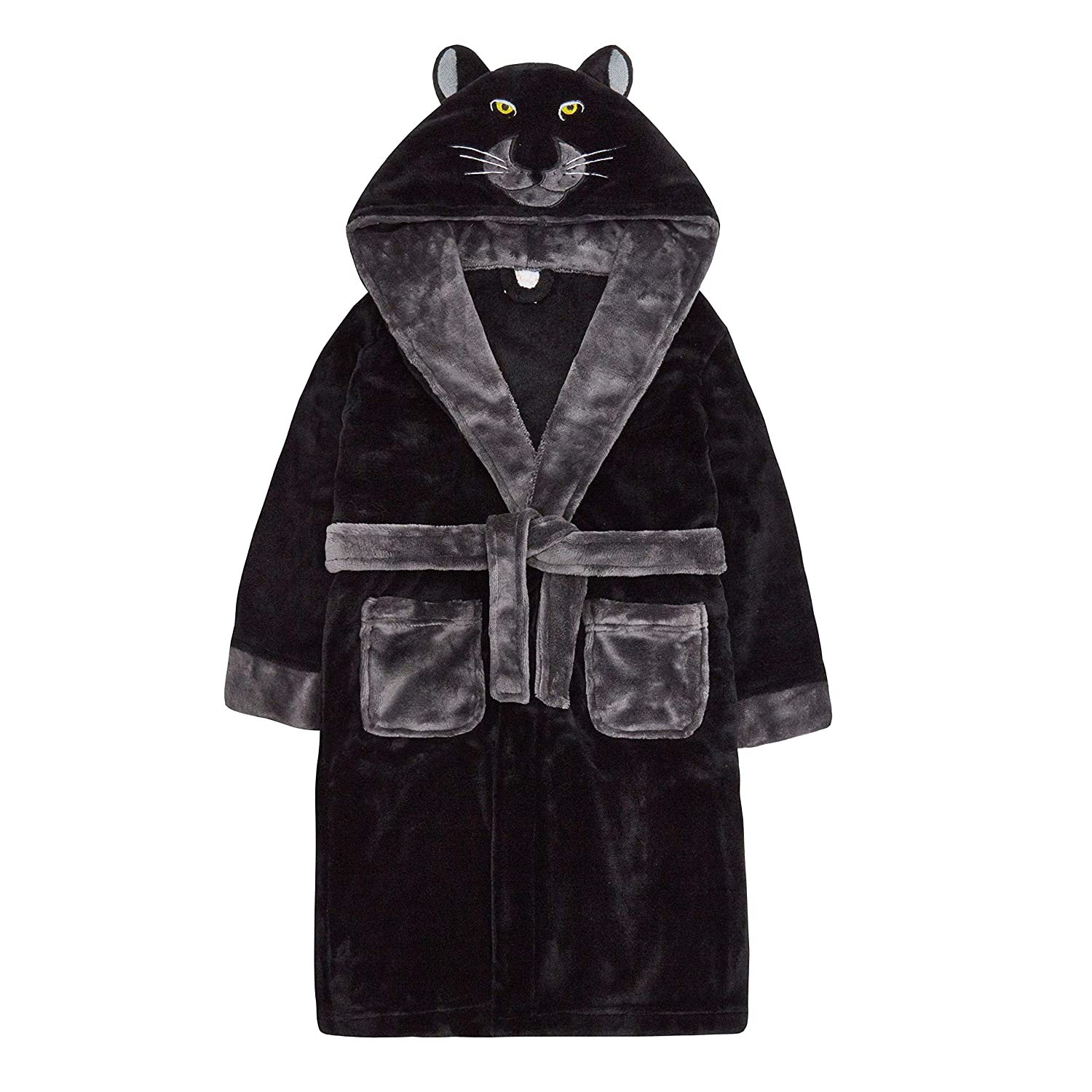 Childrens Novelty Panther Hood Plush Fleece Dressing Gown