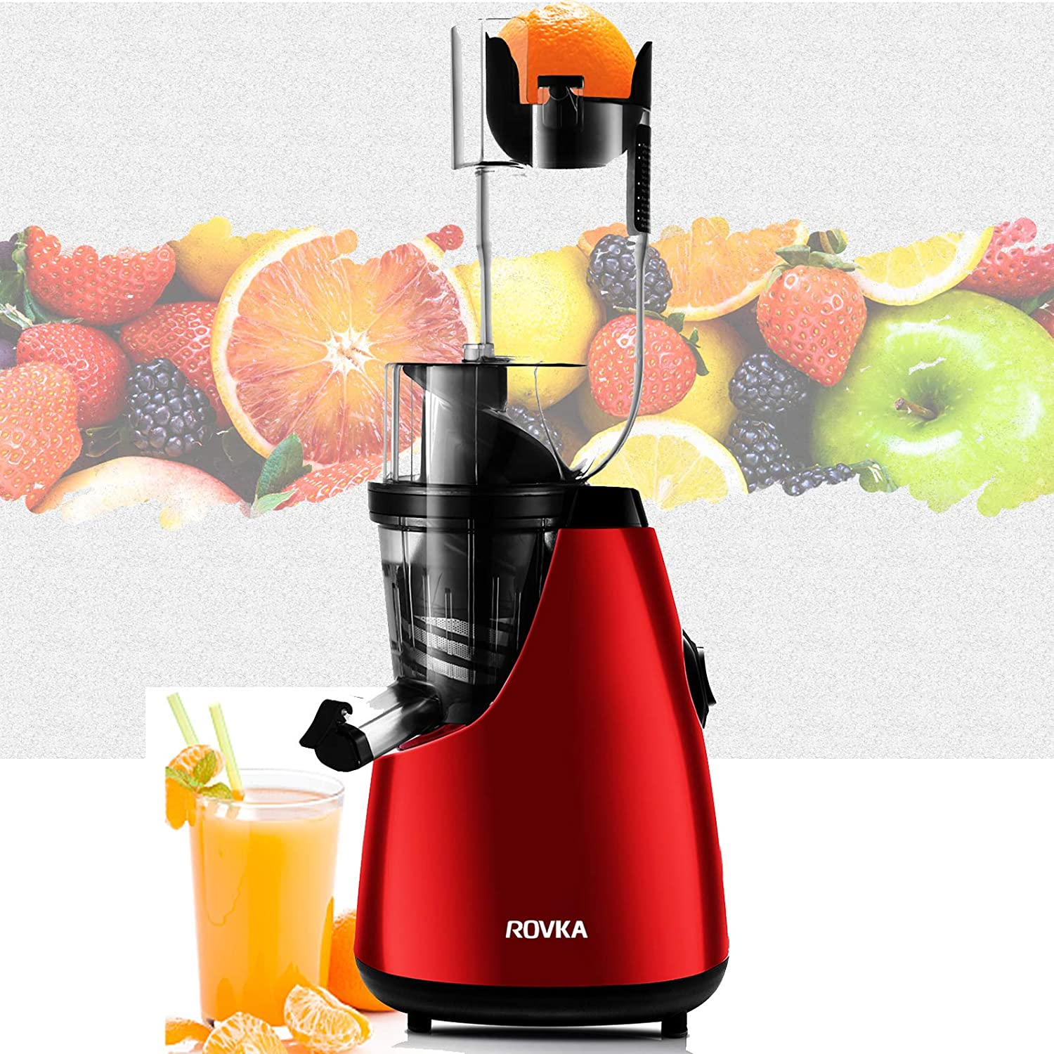 ROVKA Slow Masticating Juicer Extractor,3.15 Inches Wide Chute Cold Press Juicer for Easy Juice ,High Juice Yield for Fruit and Vegetable