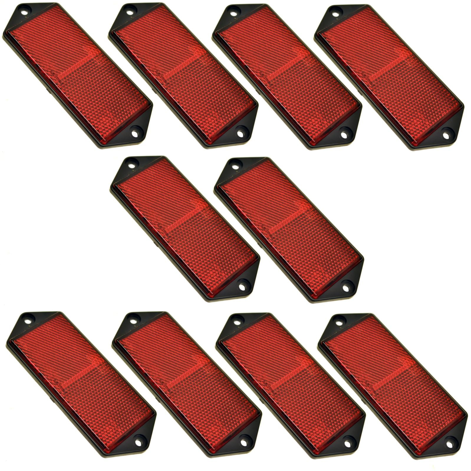 AB Tools-Maypole Red Large Rectangular Rear Reflector Pack of 10 Trailer Fence/Gate Post TR073