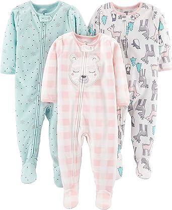 3er-Pack Simple Joys by Carters Baby und Kleinkind M/ädchen Schlafanzug mit Fu/ß Baumwolle