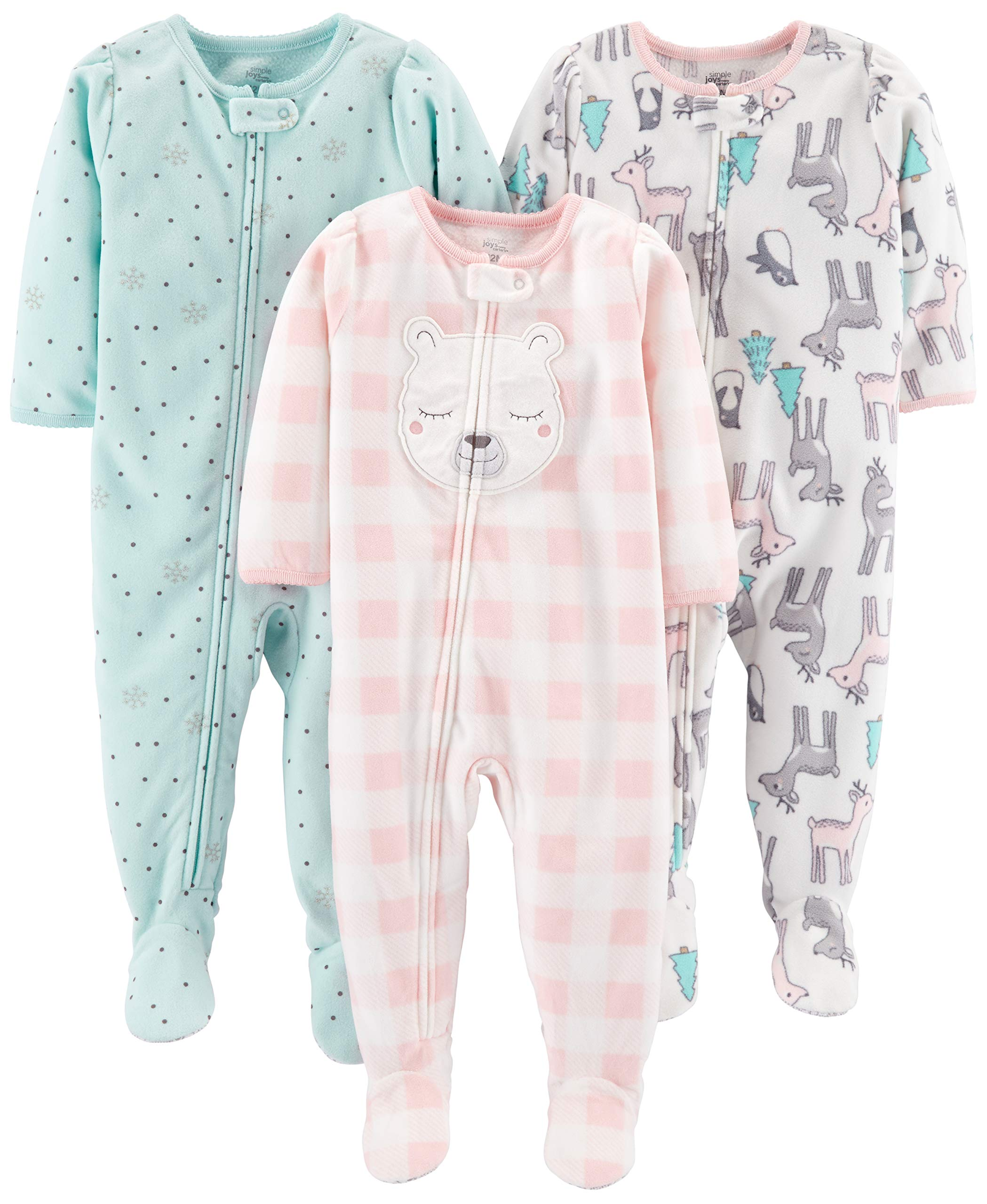 Simple Joys by Carter's Girls' Toddler 3-Pack Loose Fit Flame Resistant Fleece Footed Pajamas, Deer/Blue Snowflakes/Pink Check, 3T