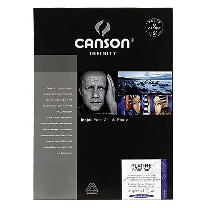 Canson infinity Platine Fibre Rag 206211037 - Papel fotográfico (A3, 25 hojas), color blanco