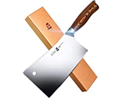 TUO Meat Cleaver - Heavy Duty Meat Chopper - High Carbon German Stainless Steel Butcher Knife - Pakkawood Handle Kitchen Chop
