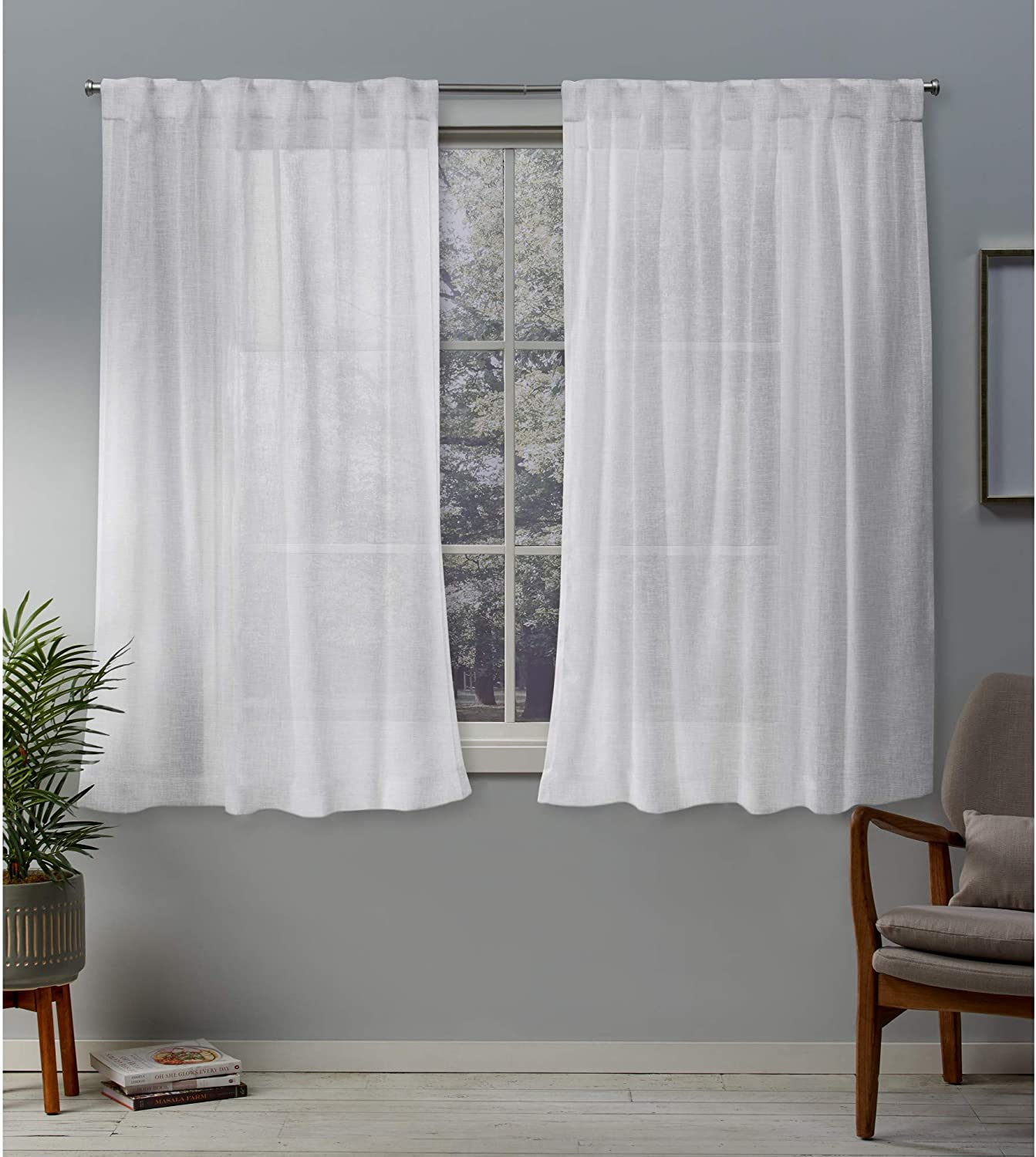 Amazon Com Exclusive Home Curtains Belgian Textured Linen Look Jacquard Sheer Hidden Tab Top Curtain Panel Pair 50x63 White Home Kitchen