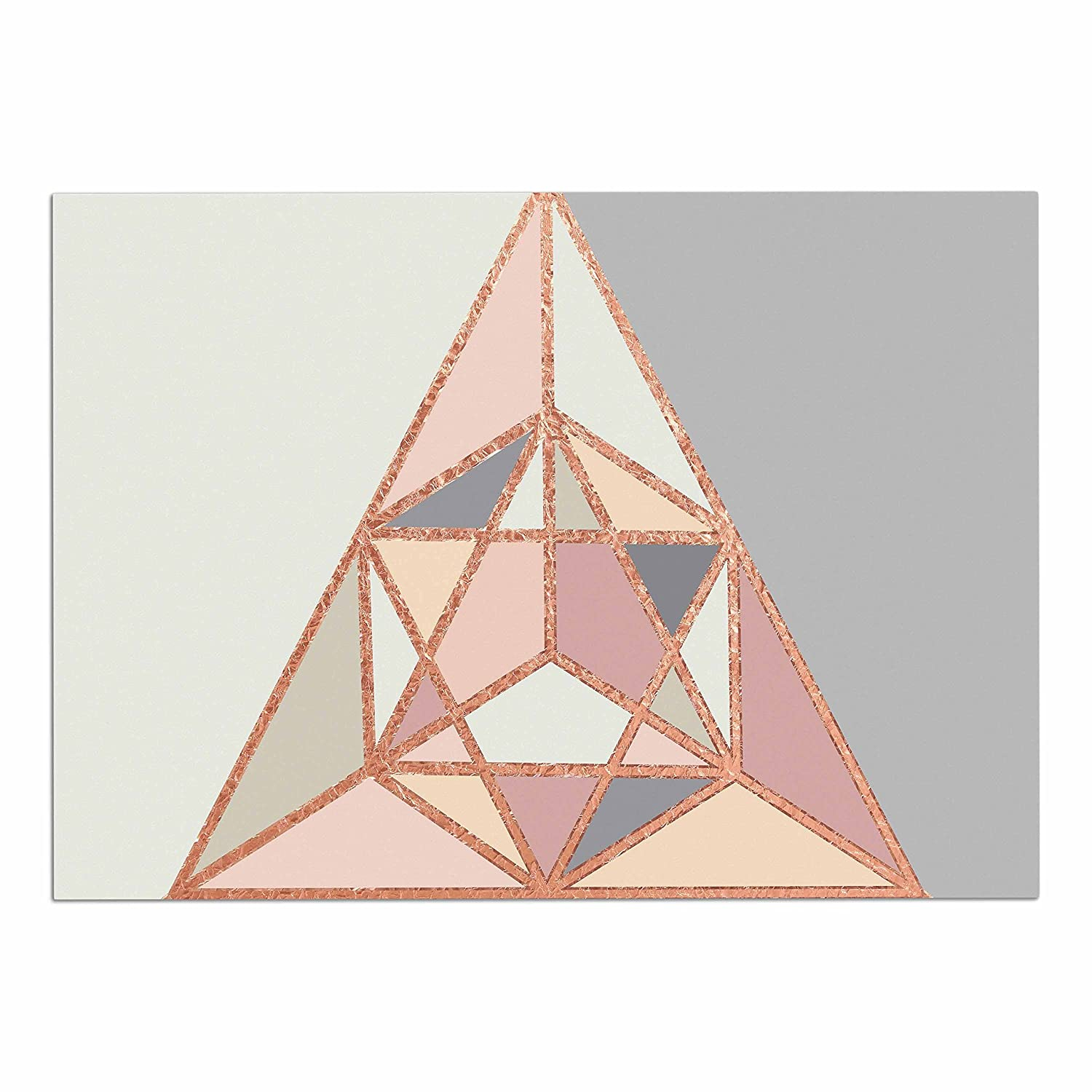 KESS InHouse CD2019ADM02 Draper pink gold Geometry gold Pastel Digital Dog Place Mat, 24 x15