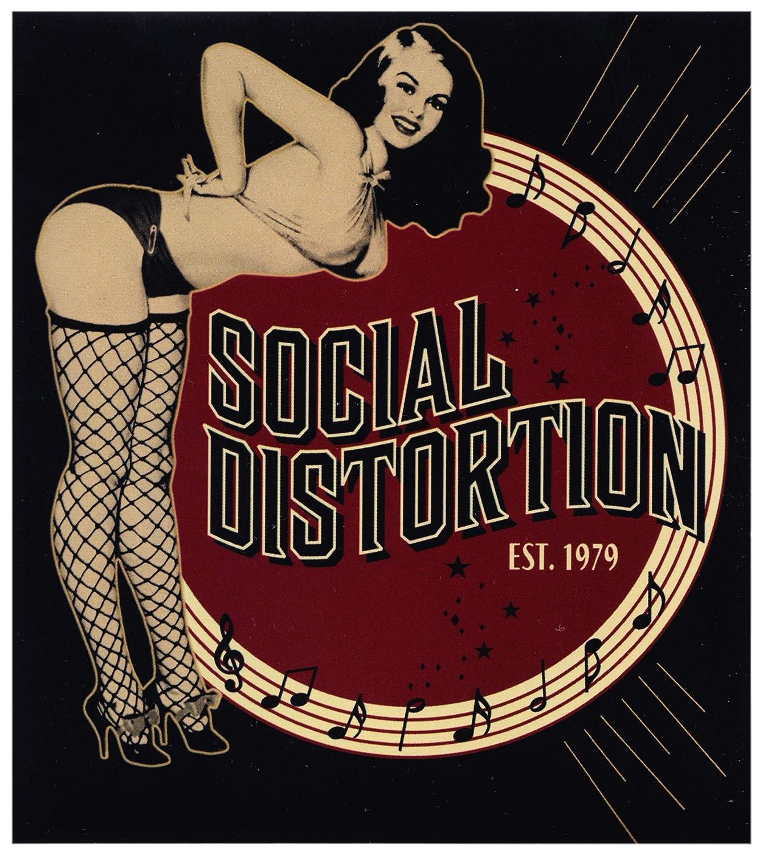 Brunette Retro Pin Up Girl Bending Over in Netzen /& Bikini mit Logo /& Established 1979 Aufkleber//Aufkleber Square Deal Recordings /& Supplies Social Distortion