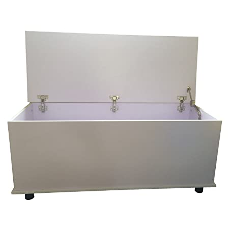 Attrayant Redstone White Ottoman Storage Chest   Hinge Can Be Locked With Pin To  Prevent Lid From