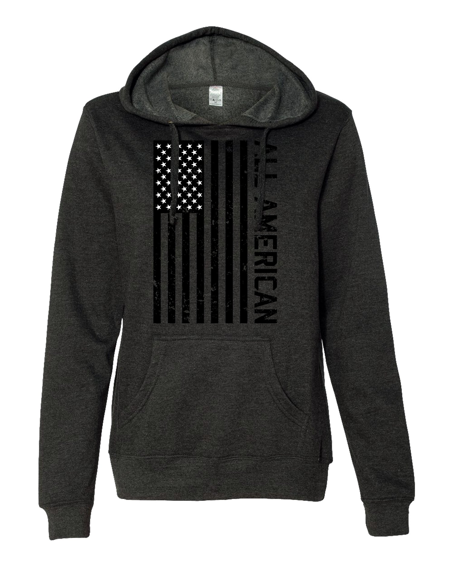 Bang Bang Apparel Women's 'All American' Lightweight Pullover Hoodie (Charcoal Heather, Medium)