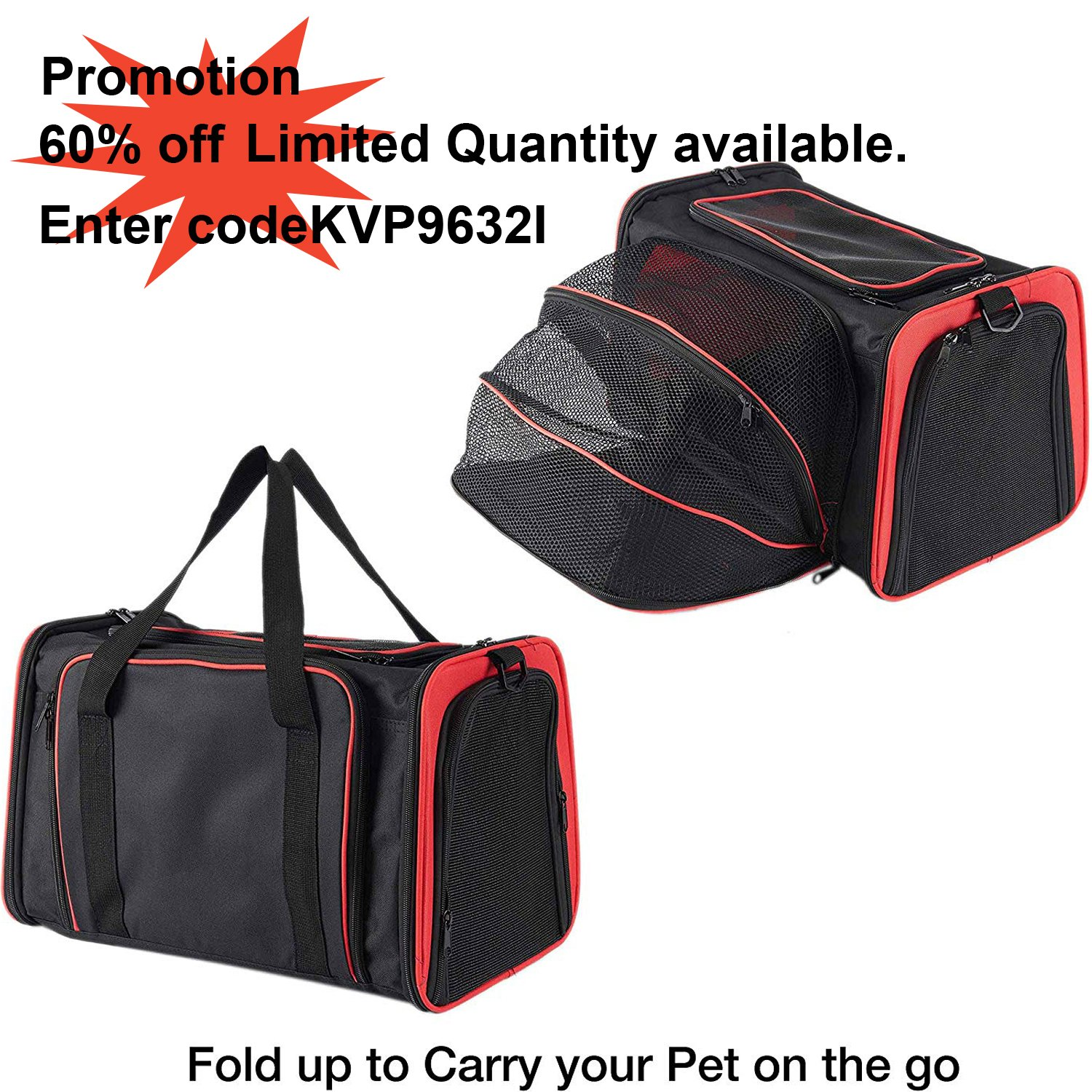 Pettom Expandable Foldable Pet Carrier Big Space Travel Handbag Soft-sided Bags for Dogs Cats and Other Animals(M, Orange) by Pettom (Image #1)