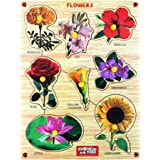 Webby Premium Wooden Flowers Educational Puzzle Toy