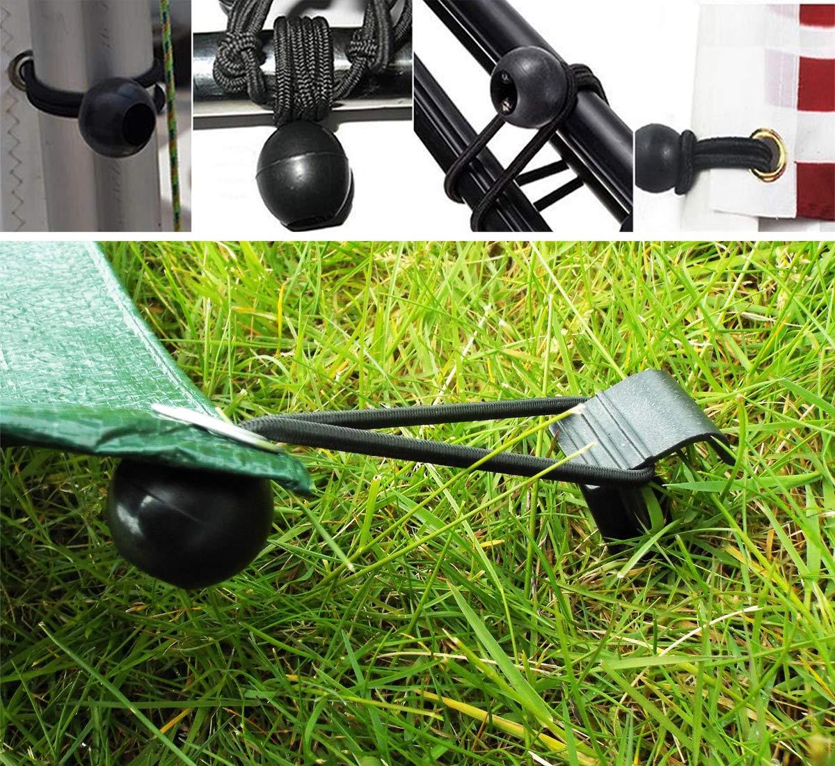 cuerda de fijaci/ón el/ástica multifuncional de 4mm para Gazebo carpa toldo banner trampol/ín negro CNNIK 25 piezas tensor de goma el/ástico