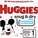 Diapers Size 1 - Huggies Snug & Dry Disposable Baby Diapers, 200ct, One Month Supply