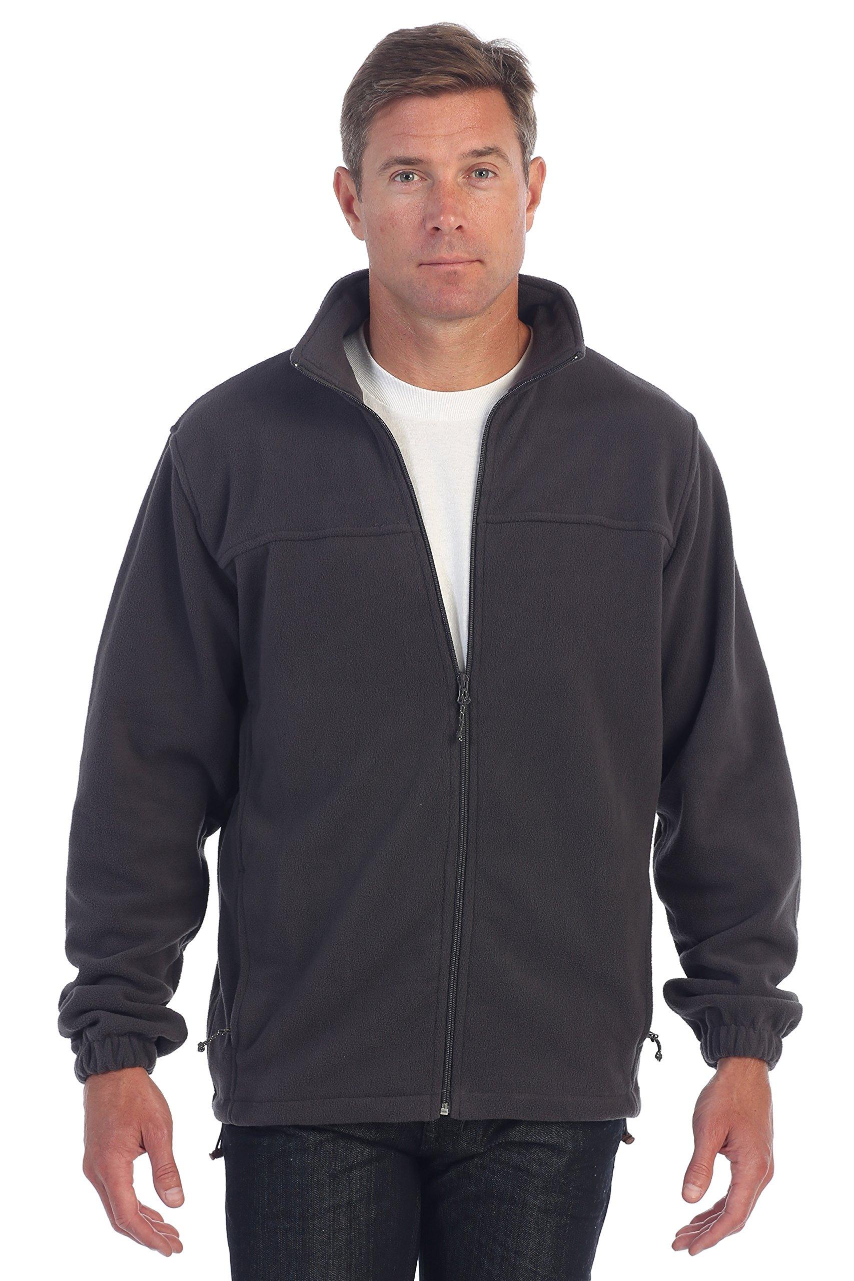 Gioberti Mens Full Zip Polar Fleece Jacket, Heather Charcoal, X-Large by Gioberti