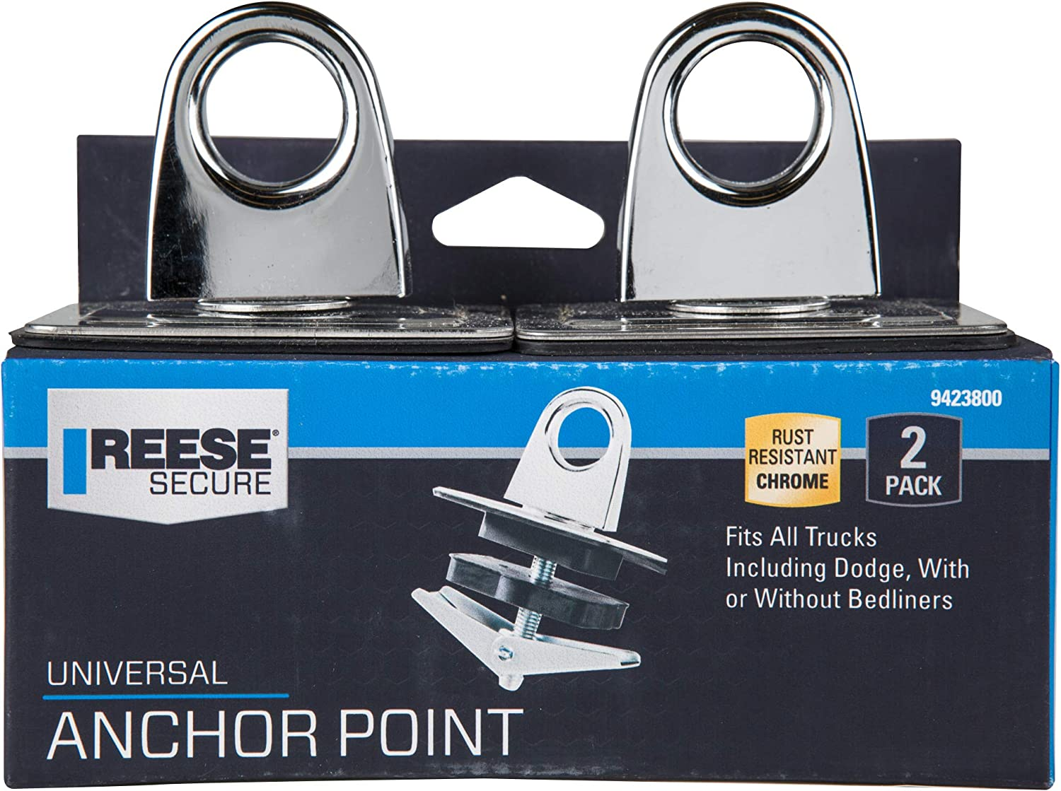 Reese Secure 9423800 Universal Chrome Anchor Point 2 Pack