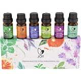 JOY Canadian 100% Pure, All Natural, Certified Organic, Premium Essential Oils Gift Set of 6x10ML - Lavender, Eucalyptus, Tea Tree, Peppermint, Lemongrass, Orange