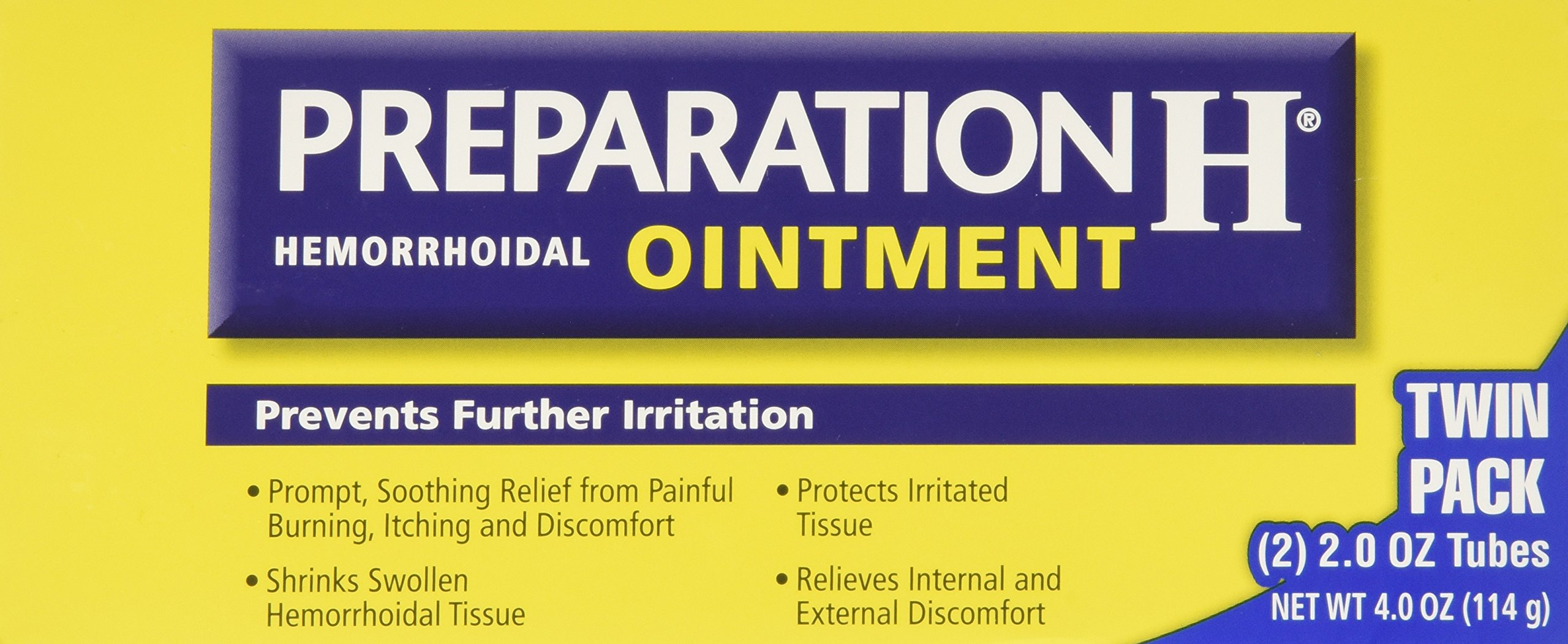 Preparation H Hemorrhoidal Ointment - 4 oz TOTAL (2 oz x 2 tubes) by Preparation H
