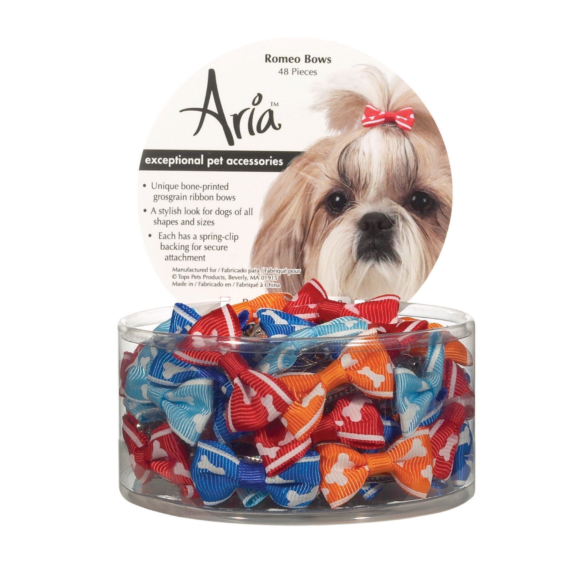 Aria Romeo Bows for Dogs, 48-Piece Canisters by Aria