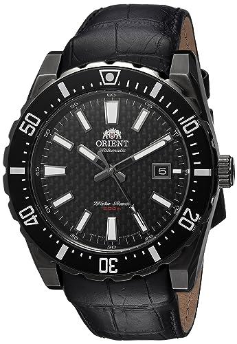 Orient # fac09001b Hombres de Nami negro IP Negro Dial Cuero Banda Reloj de buceo automático: Amazon.es: Relojes